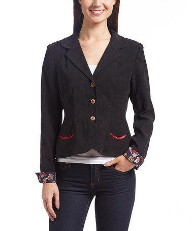 Look at this #zulilyfind! Black & Red Print-Cuff Jacket #zulilyfinds