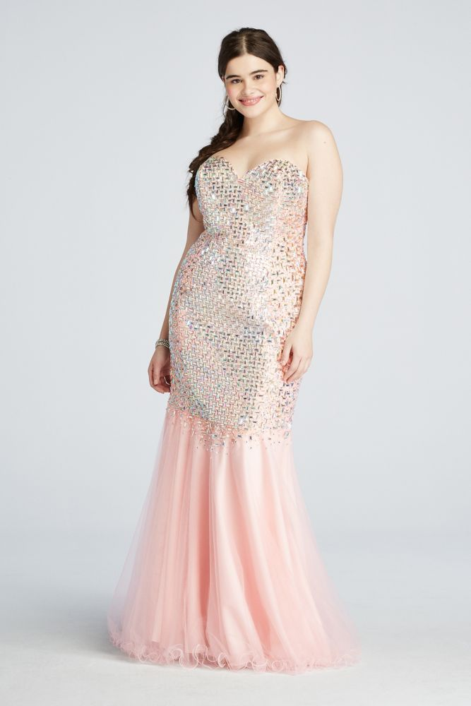 79f6f23f180 Crystal Beaded Mermaid Prom Dress with Train - Pink