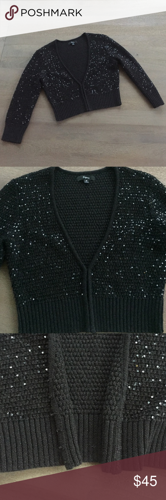 Express black sequin cropped cardigan sweater