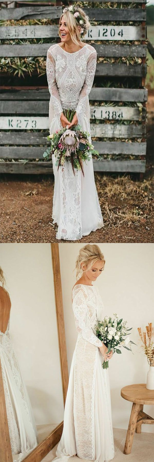 Aline bateau long sleeves backless chiffon wedding dress with lace