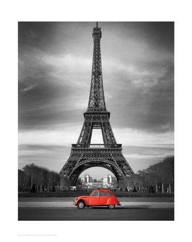 Retro Red And The Eiffel Tower Small Eiffel Tower Tour Eiffel Eiffel Tower Art