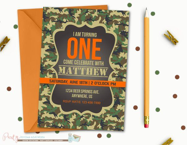 Camo Birthday Invitation First Birthday Invitation 1st Birthday