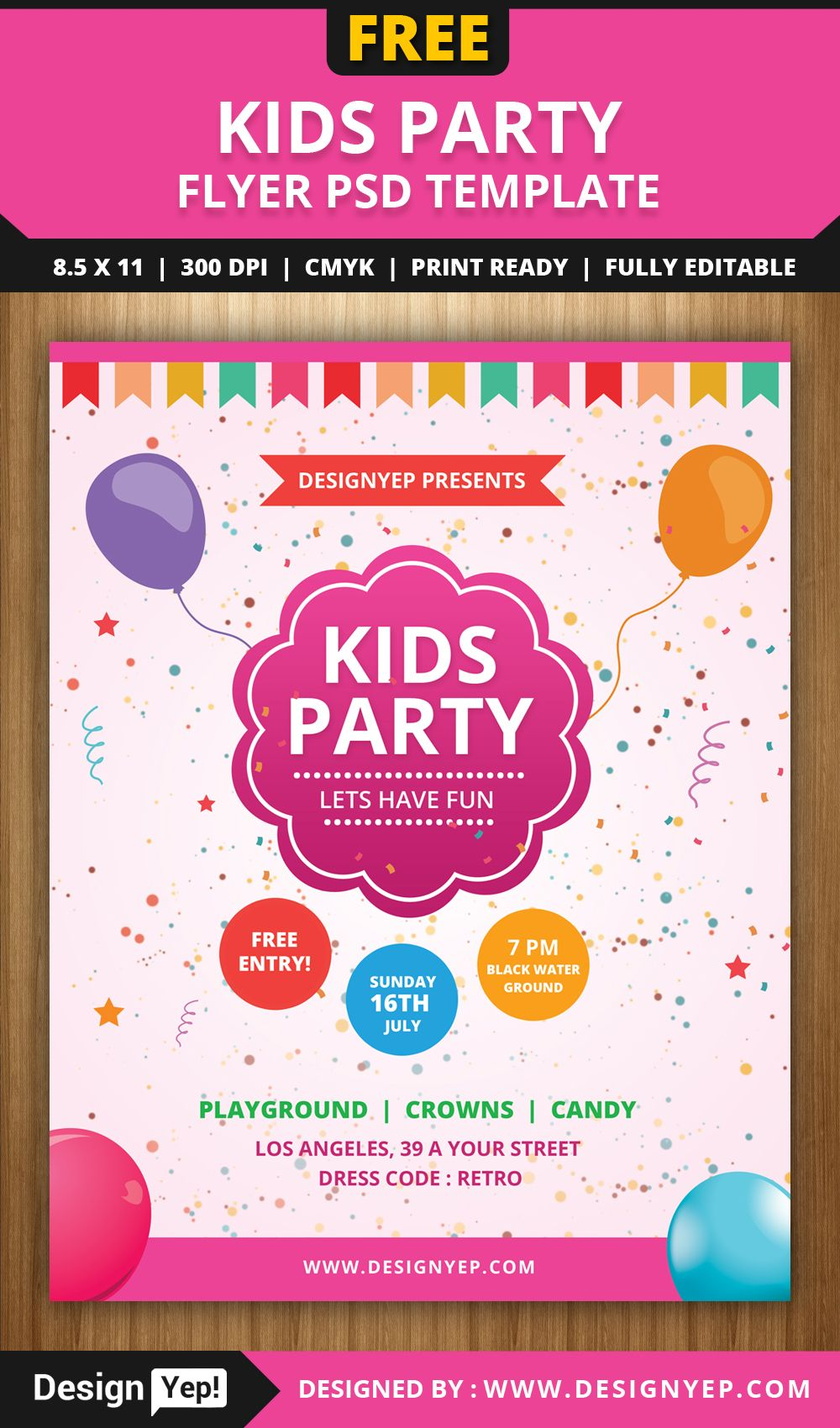 Free Kids Party Flyer PSD Template | Free Flyers | Pinterest ...