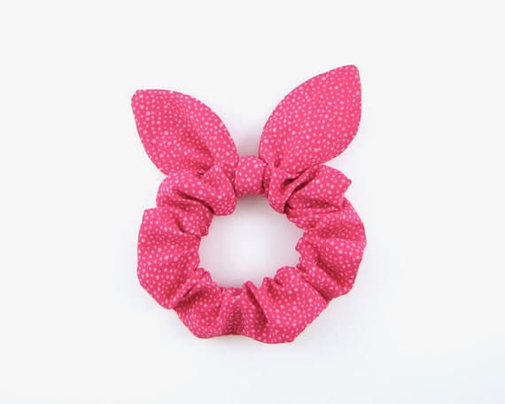 Bunny Ears Knot Bow Hair Scrunchie Hot Pink Dotted  2ba94108690