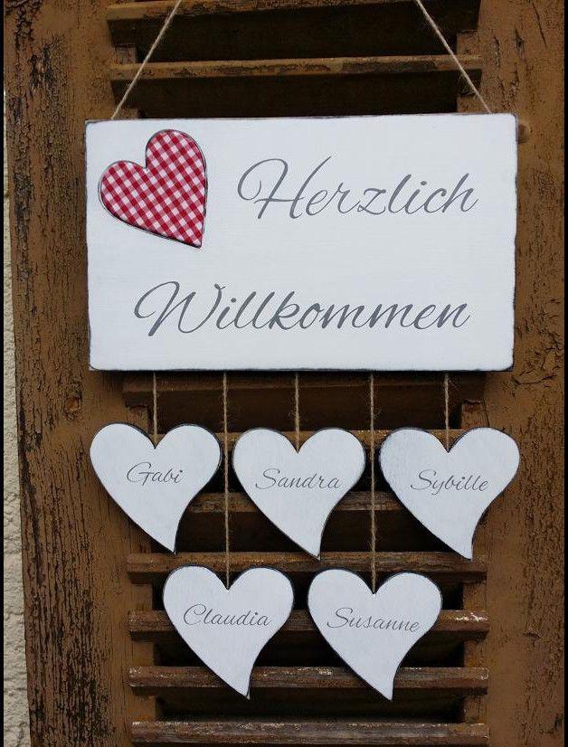 Namensschild Türschild Willkommen Herzen Namen Tilda Stoff Shabby AB ...