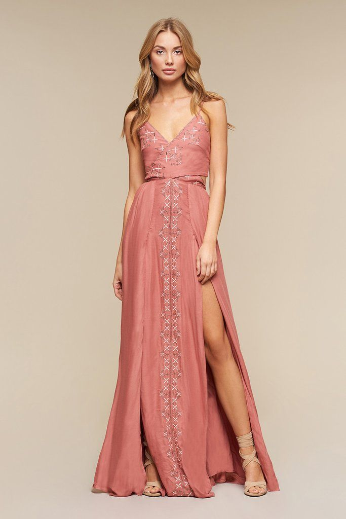 Maxi dress featuring custom TJD lurex embroidery. Cross over bodice ...