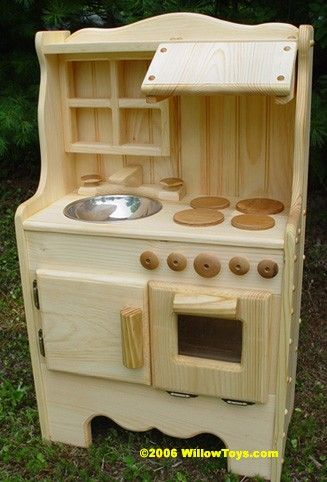 child's wooden play kitchen, wooden toy kitchen all natural, real