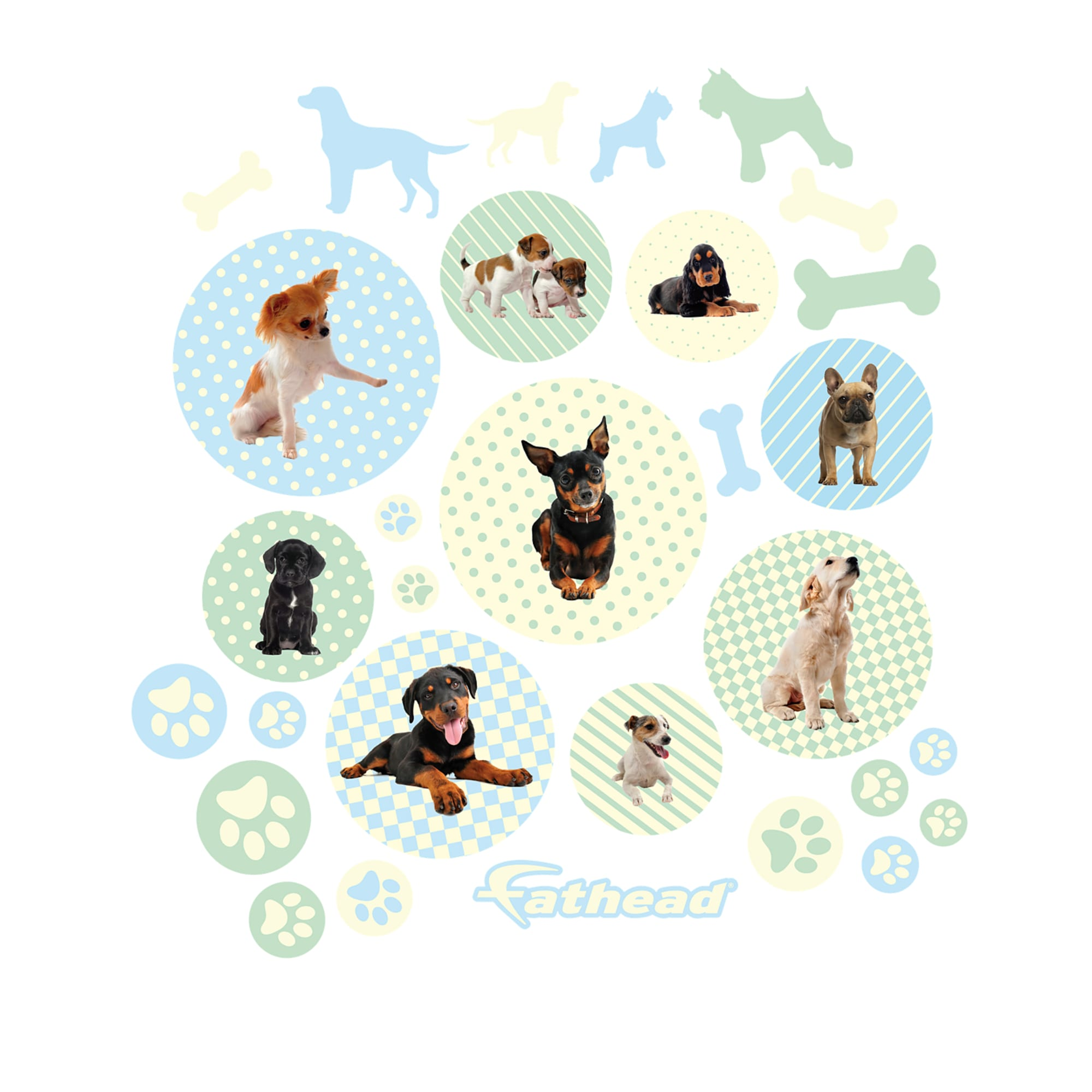 Dog Puppy Circles Large Removable Wall Decals Wall Decals Removable Wall Decals Removable Wall