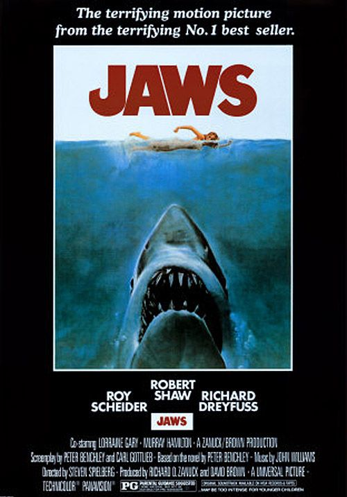 """""""Jaws"""" directed by Steven Spielberg / highest grossing film in 1975"""