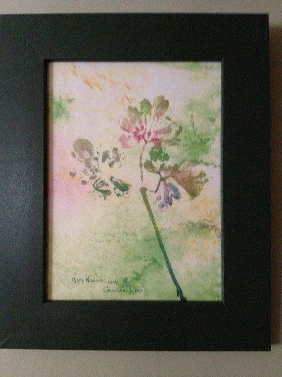 Nature print of Geranium Leaf by TheChickenKoop on Etsy