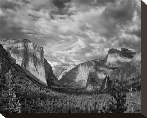 Yosemite tunnel view black and white i stretched canvas print by danny burk at art com