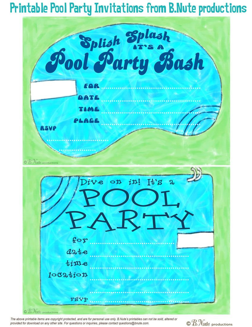 Free Printable Pool Party Invitations Pool Party Invitations - Party invitation template: pool party invitations templates