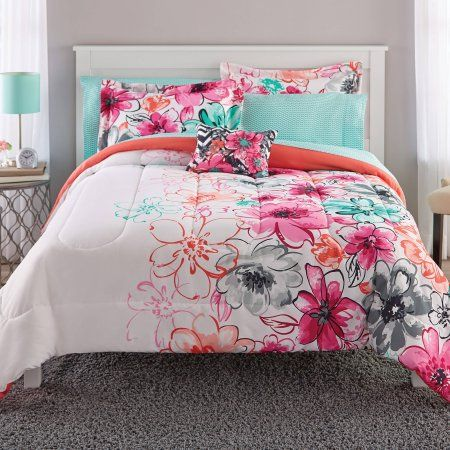 Mainstays Watercolor Floral Coordinated Bedding Set Walmart Com
