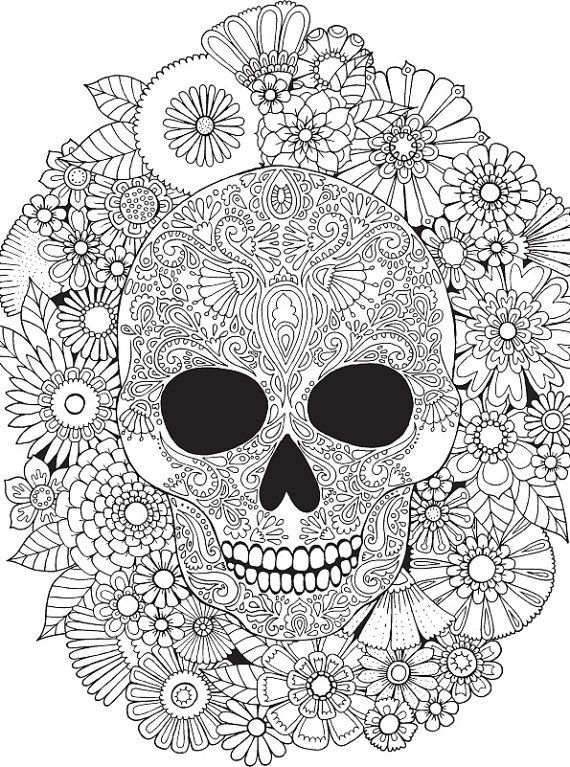 Floral Skull Colour with Me HELLO