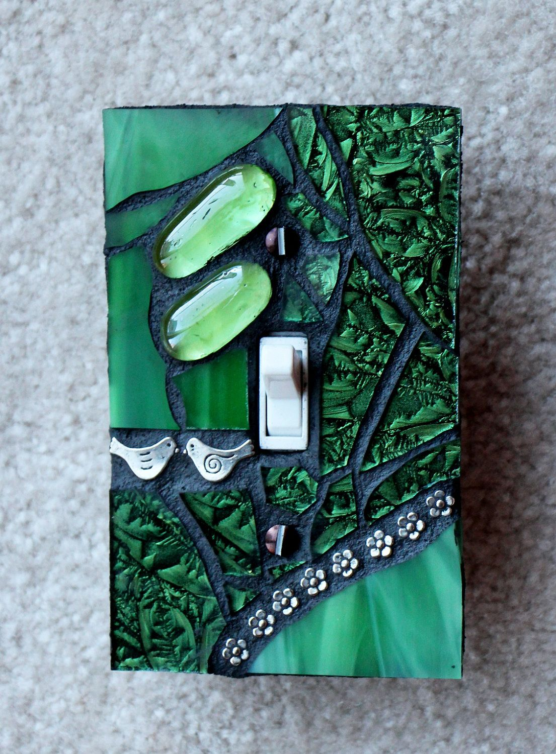 Forest Green Single Mosaic Light Switch Cover Wall Plate