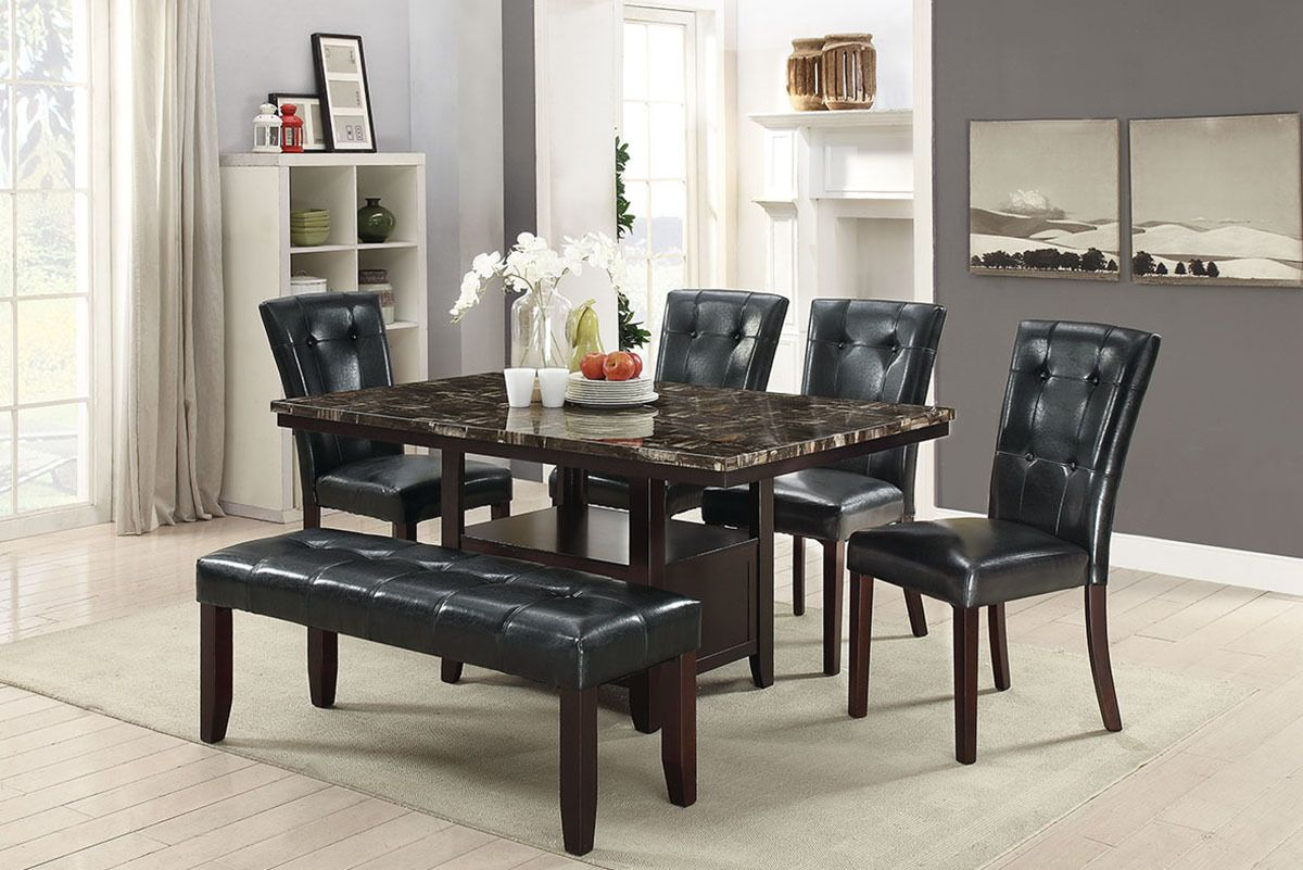 Eclipse Furnishings 6pc Kingscrest Black Dining Set Faux Marble