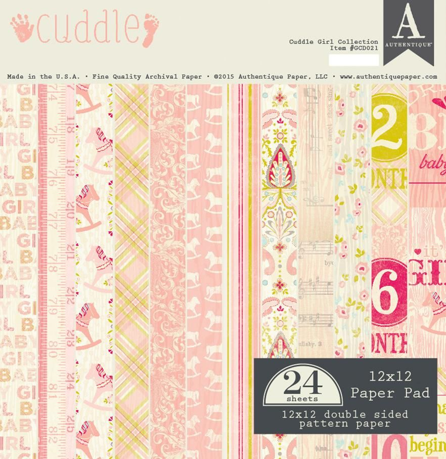 Authentique Cuddle Girl 12x12 Scrapbook Paper Pad Baby Vintage