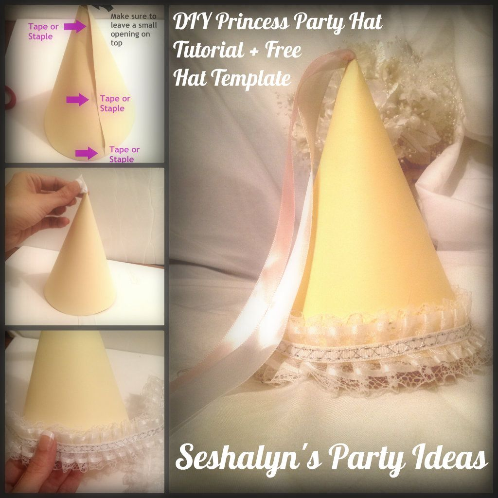 DIY Princess Party Hat Tutorial Free Party Hat Template – Diy Princess Party Invitations