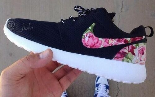 097e4168f485 shoes nike running shoes bag nike pink flowers black white flower rose  print nike roshe run floral roshe custom flowers nike shoes womens roshe  runs floral