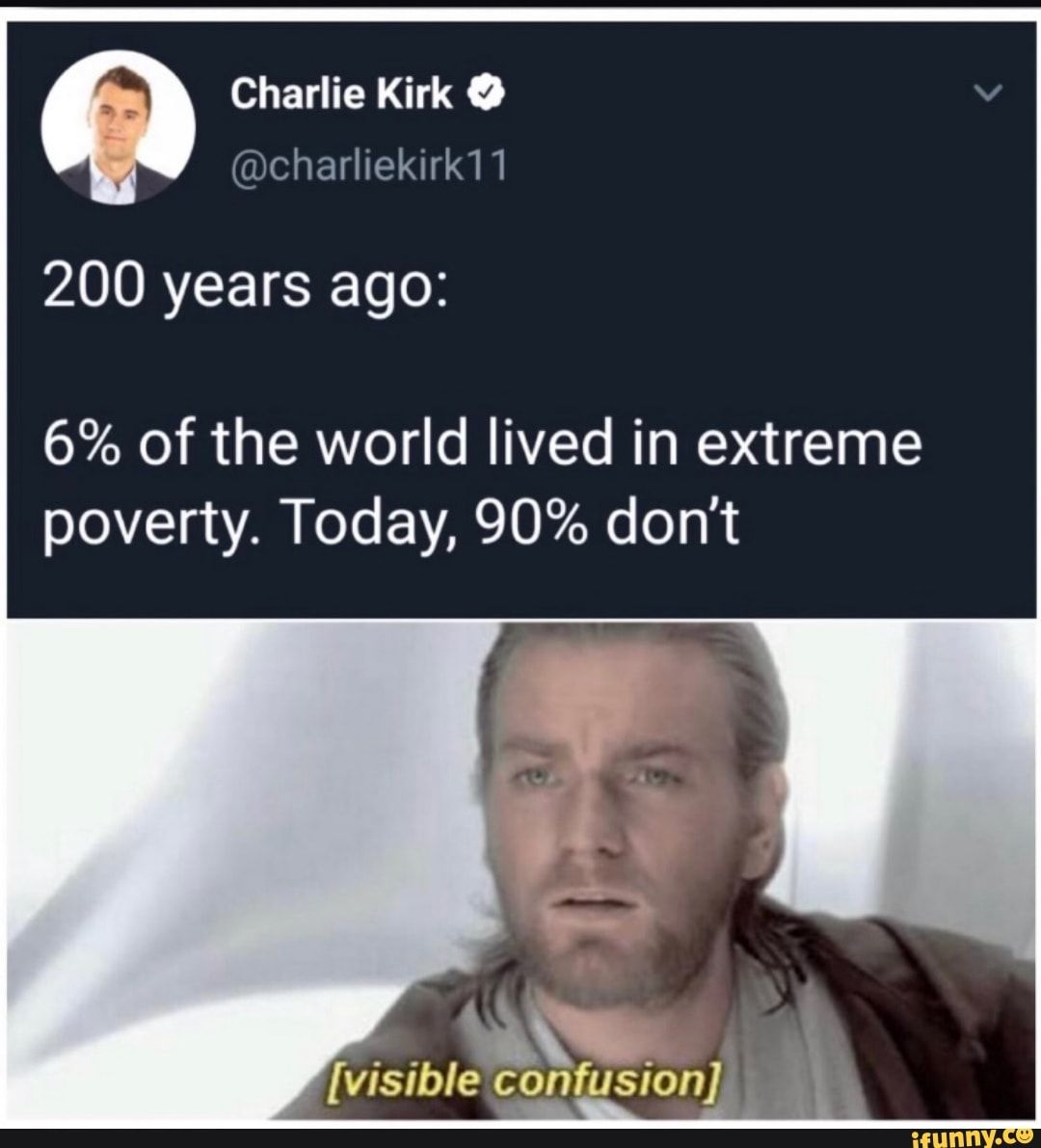 Charlie Kirk º 200 years ago 6 of the world lived in