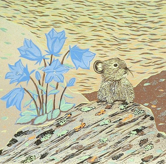 Hey, I found this really awesome Etsy listing at https://www.etsy.com/listing/103154949/hare-bell-original-woodblock-print-pika