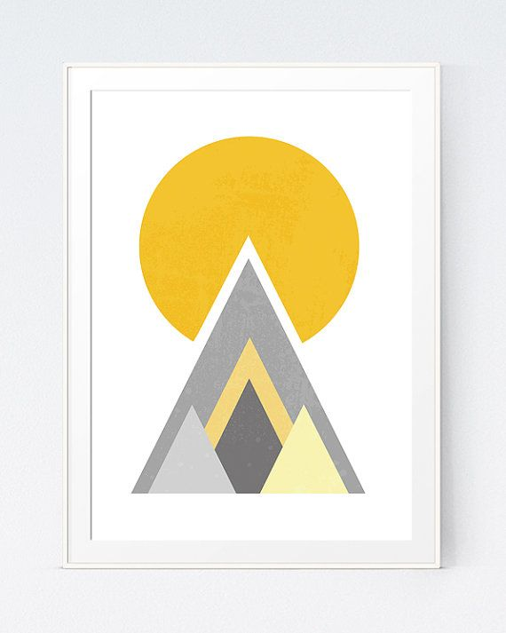 Yellow Grey Geometric Print, Mustard and Gray Wall Art, Gold and ...