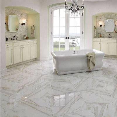Msi Pietra Calacatta 12 X 12 Porcelain Field Tile In White Porcelain Flooring Marble Floor Honed Marble Floor