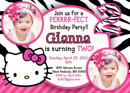Hello Kitty for 2nd birthday invitations jemimahs birhtday
