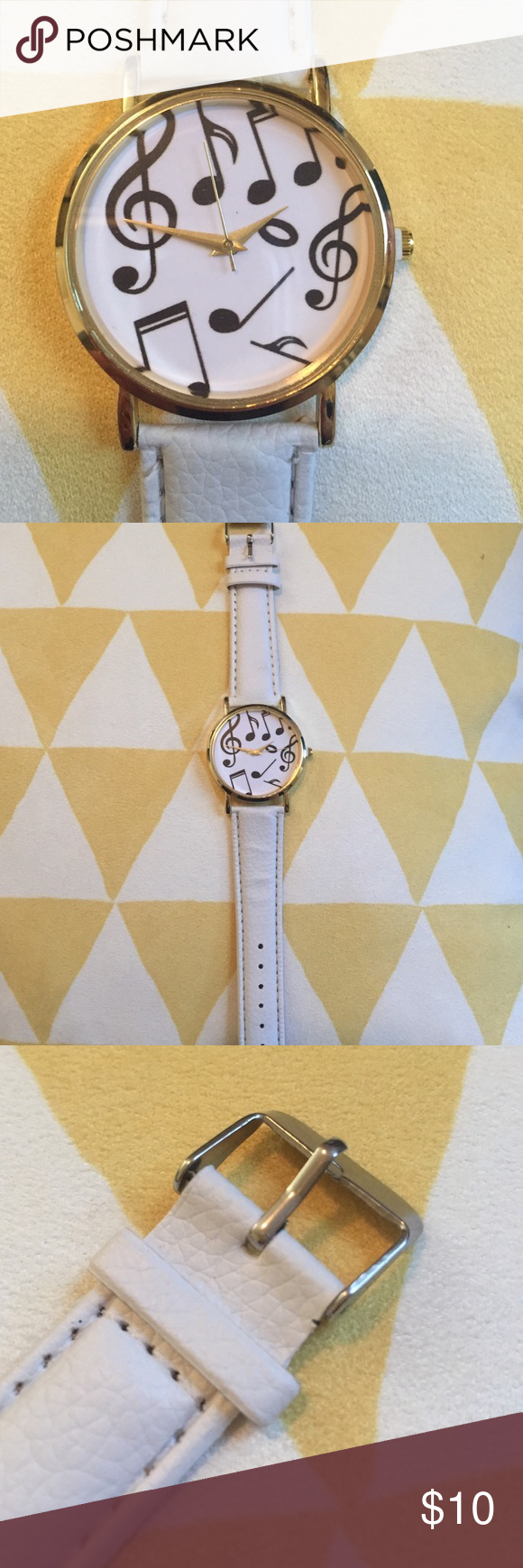 Music Note Wrist Watch Off white and gold music note wrist watch. Never been worn, only for photo. Excellent condition, brand new! Accessories Watches