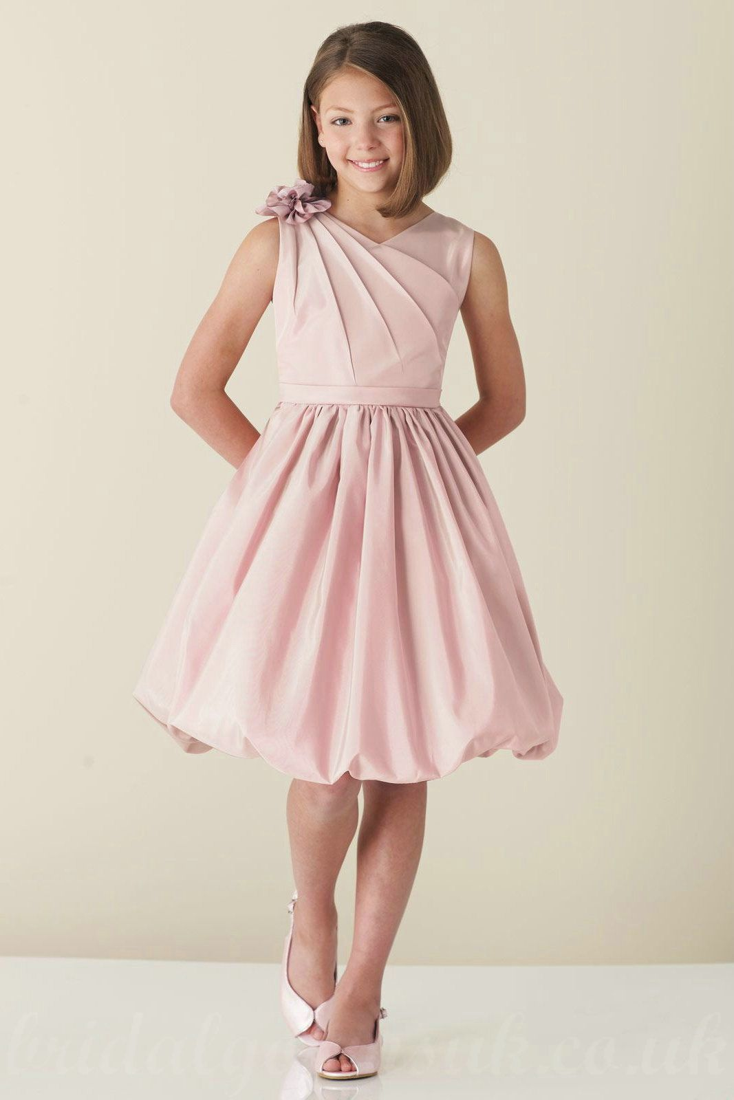 Unique Neckline Pink Flower Trimed A Line Ruched Affordable Girls ...