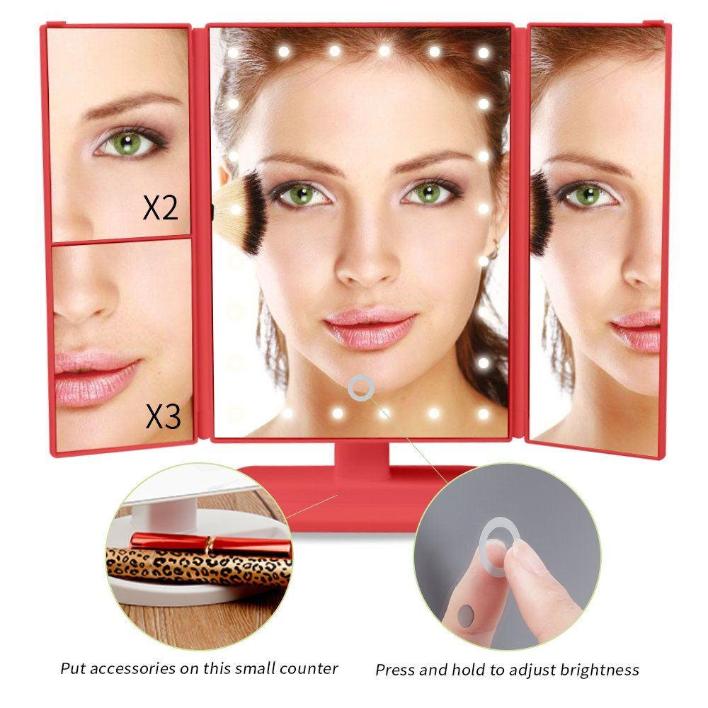 Lighted Vanity Makeup Mirror, Portable Travel Vanity