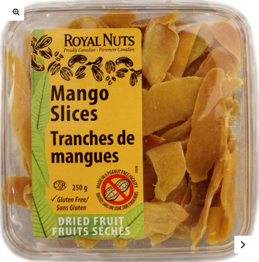 Royal Nuts is the first - and only - purveyor of gluten-free and peanut-free nuts, seeds and dried fruit in North America! Proudly Canadian! SEE: https://royalnuts.ca/en/shop/dried-fruits/mango-slices/