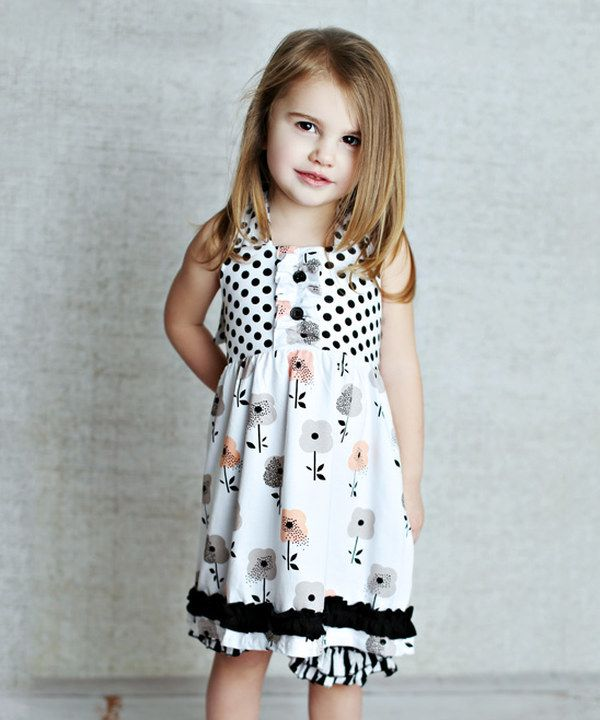 Look at this Lollies and Lace Boutique Black & White Apron-Tie Dress ...