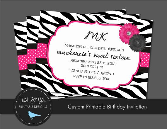 Sweet Sixteen Invitation or any age Hot Pink Zebra Print and
