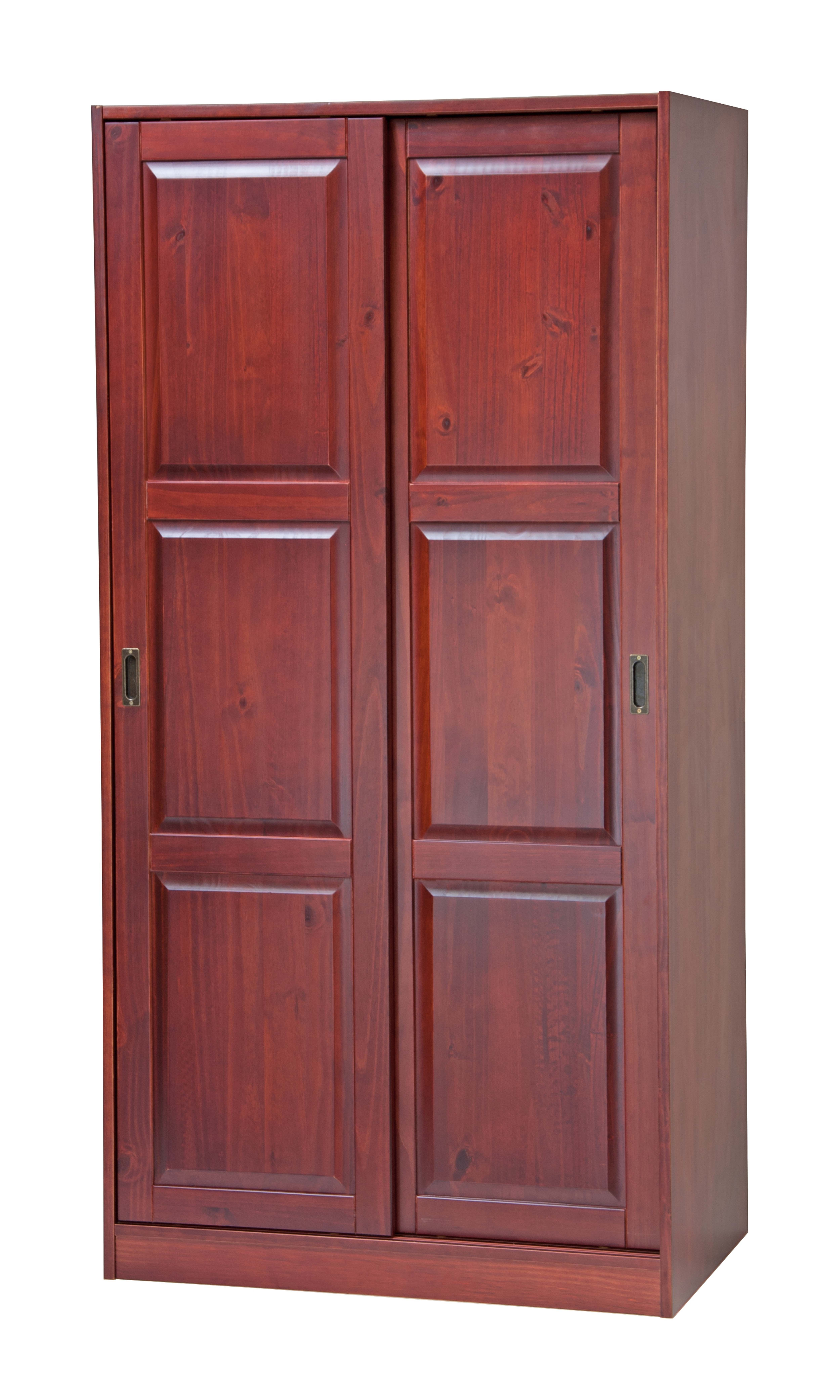 2 Sliding Door Solid Wood Wardrobe Closet Armoire With Shelf In Mahogany