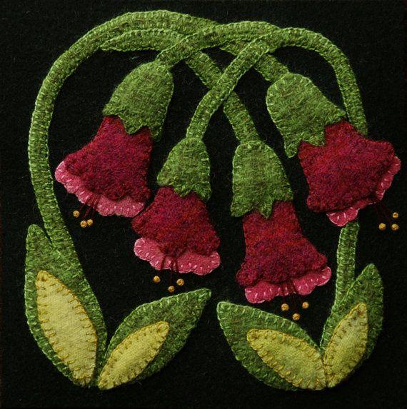 Wool Applique Pattern Red Trumpet Vine 6x6 By
