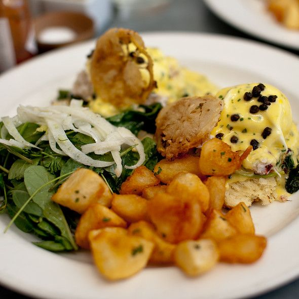 Dungeness Crab Benedict with Crispy Potatoes