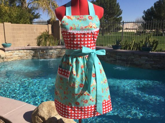 Love Birds Sassy Apron Retro Style with Gathered by sassyapron