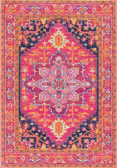 Traditional Vintage Katrina Blooming Rosette Pink Area Rugs 9 Feet By 12 X