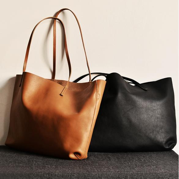 Handmade modern fashion leather big large tote bag shoulder bag handbag for women 14074 - LISABAG - 1