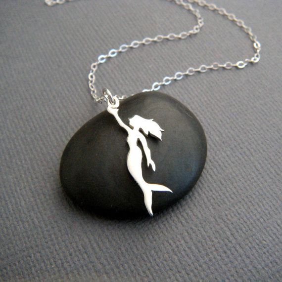 tiny mermaid necklace. small sterling silver by limegreenmodern