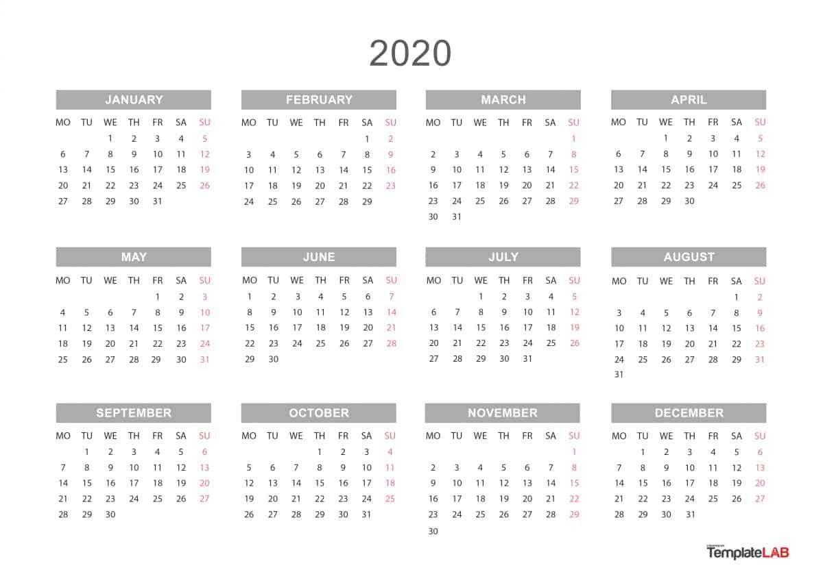Yearly Calendar 2020 Printable Blank Calendar Template Calendar