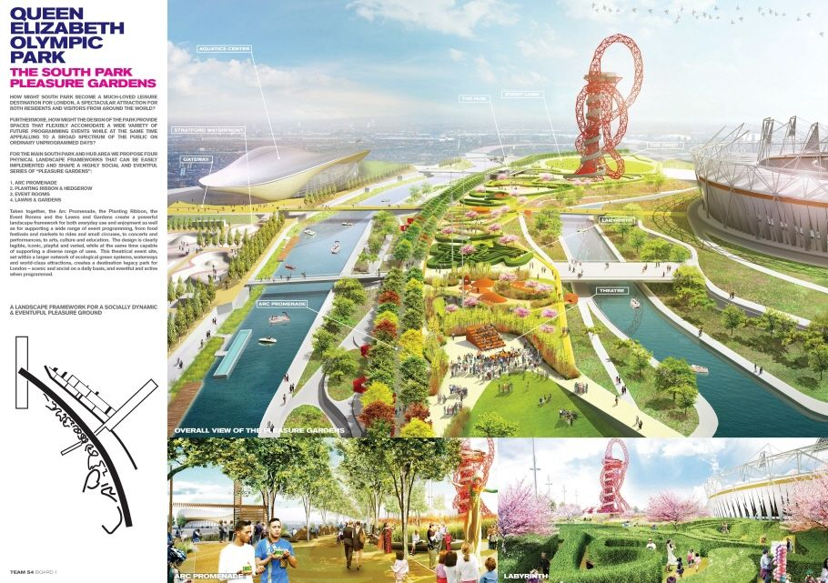 New York-based James Corner Field Operations' proposal for a 50 acre urban landscape consisting of a tree-lined promenade connecting flexible event and cultural spaces was selected as the winning entry for the south plaza.