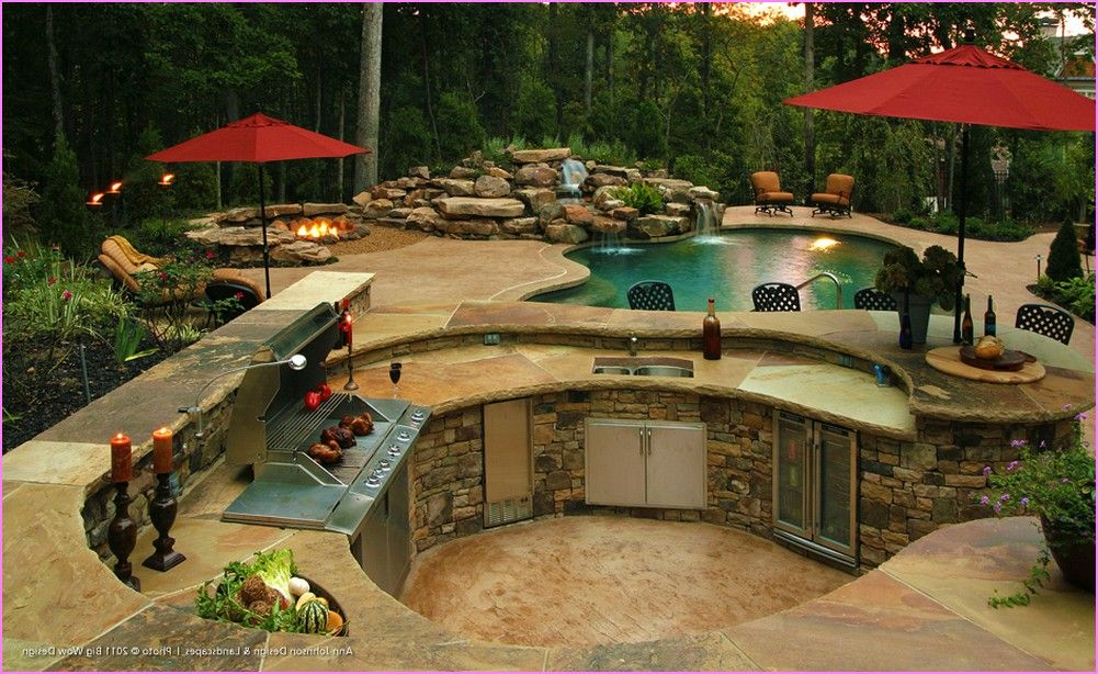 Backyard designs with pool pool located at the backyard for outdoor kitchen designs