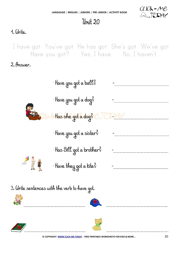FREE PRINTABLE BEGINNER ESL PRE-JUNIOR WORKSHEET 20 - VERB TO HAVE ...