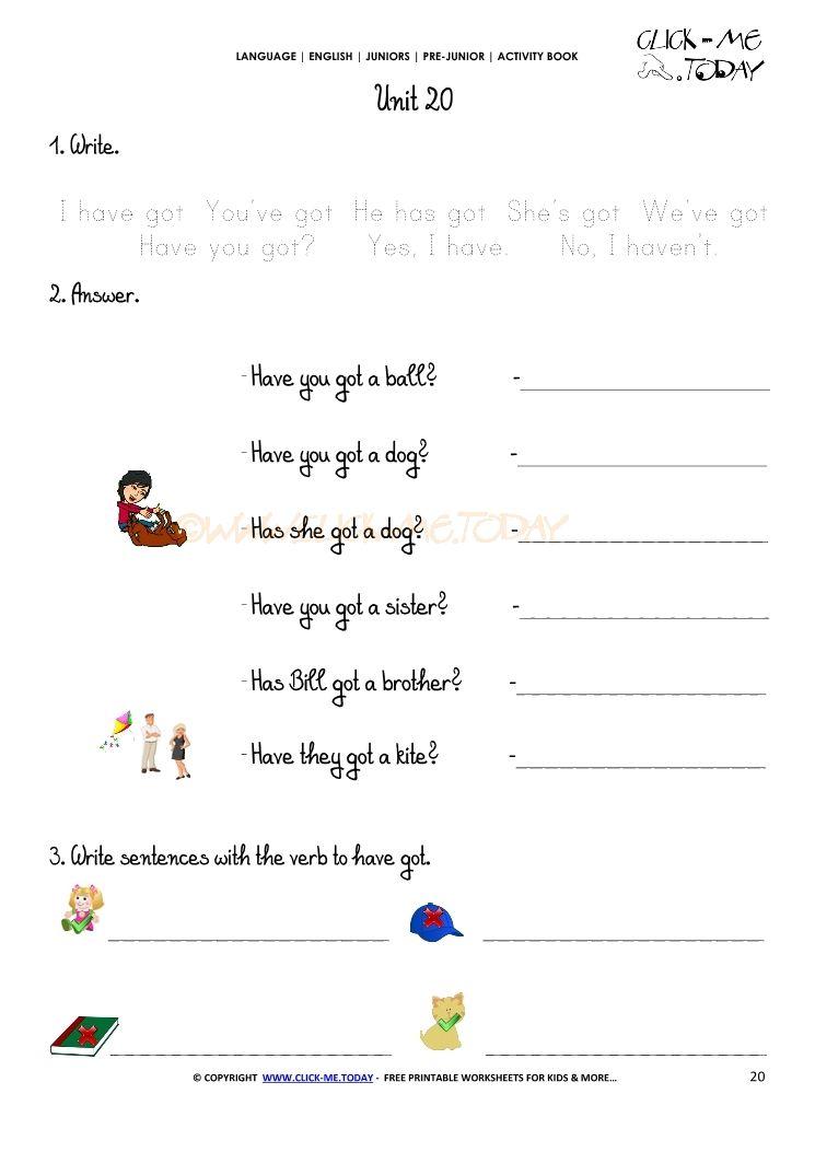 Free Printable Beginner Esl Pre Junior Worksheet 20 Verb To Have