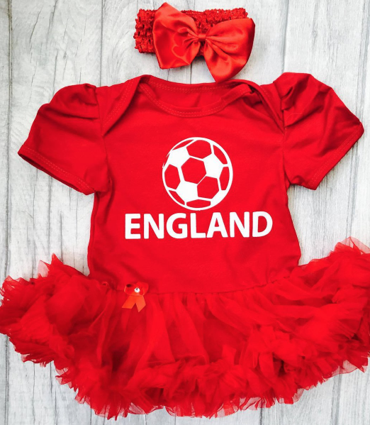 733a08c6c9a England World Cup red tutu romper for baby girls ages 0-18months. So cute!  shop now at Little Secrets Clothing