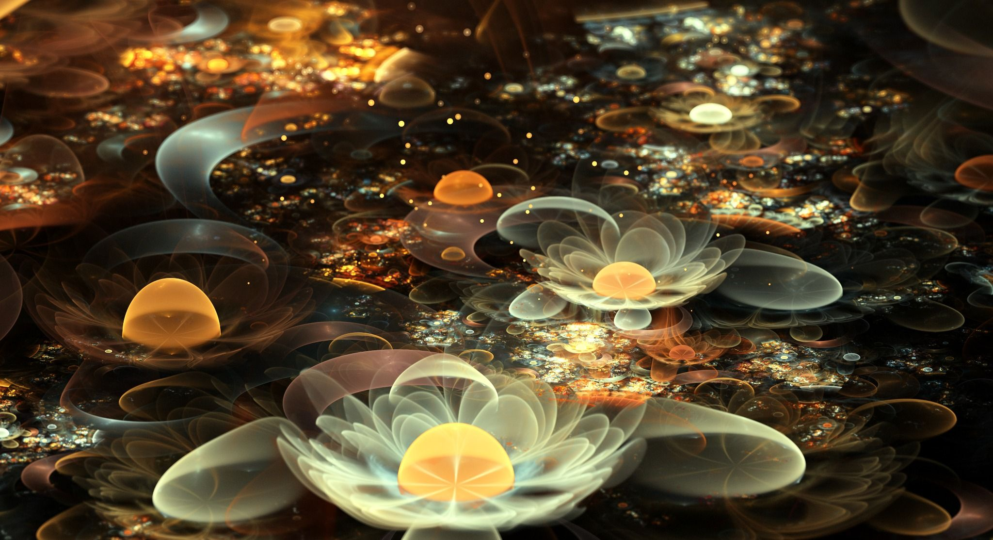 Обои цветок, свечение, фрактал, свет, абстракция. Абстракции foto 15