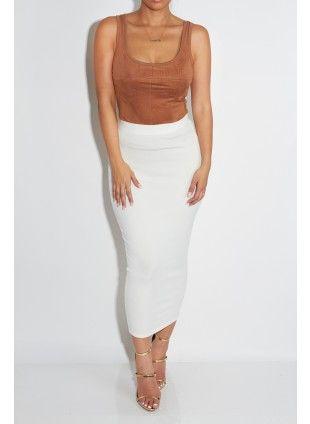 So summer. So Kardashian... pinterest bitahsweetcoco   White ELLE MIDI-Length Knit Skirt
