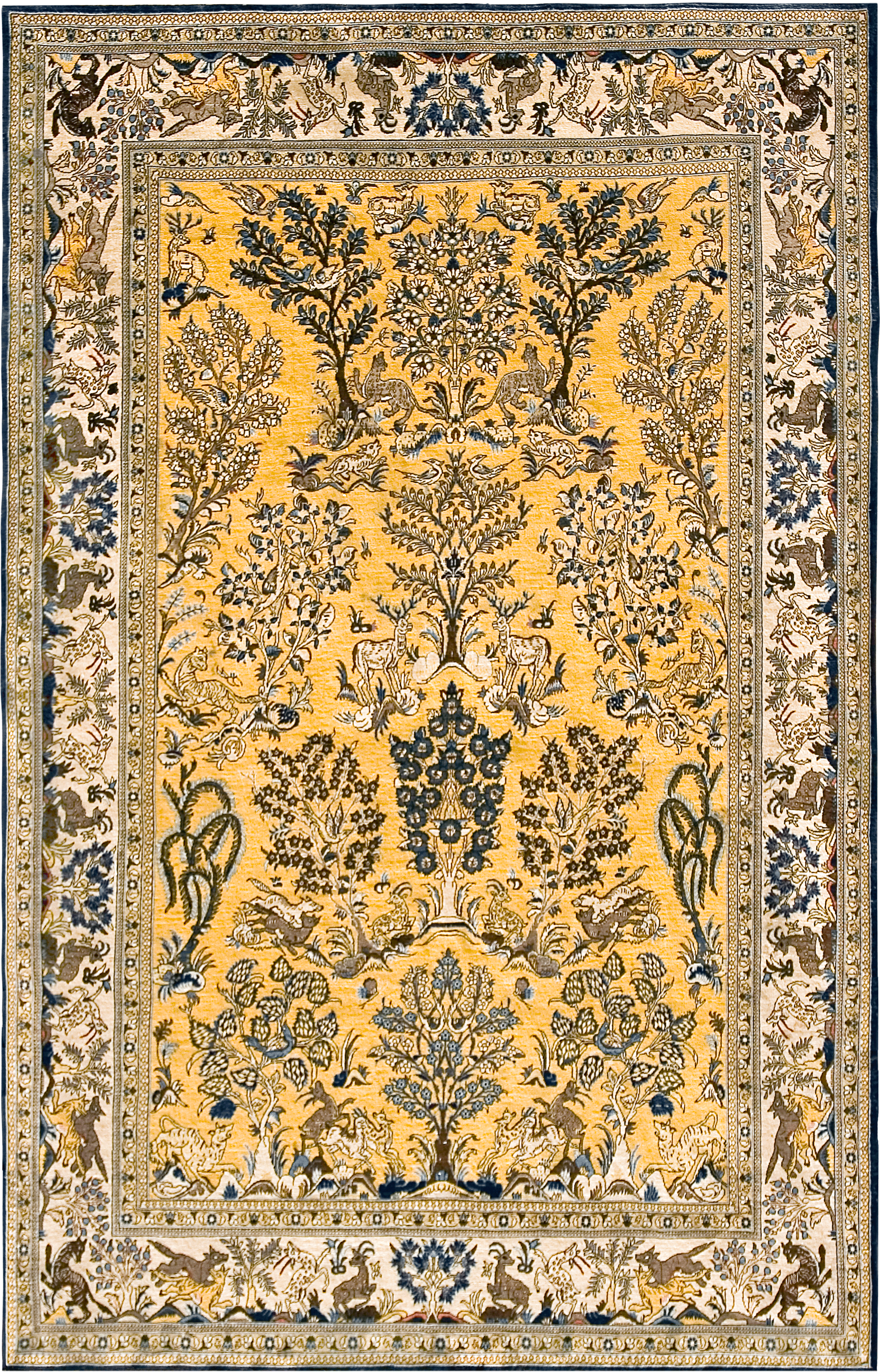 Vintage Gold And Blue Ghom Tree Of Life Persian Carpet Circa 1940s In Pure Wool Persian Carpet Rugs On Carpet Carpet